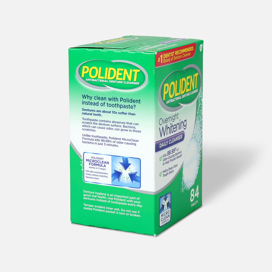 Polident Overnight Whitening Antibacterial Denture Cleanser Tablets, , large image number 3