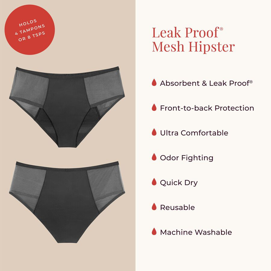 Proof® Leak & Period Underwear - Mesh Hipster (4 tampons / 8 tsps), , large image number 3
