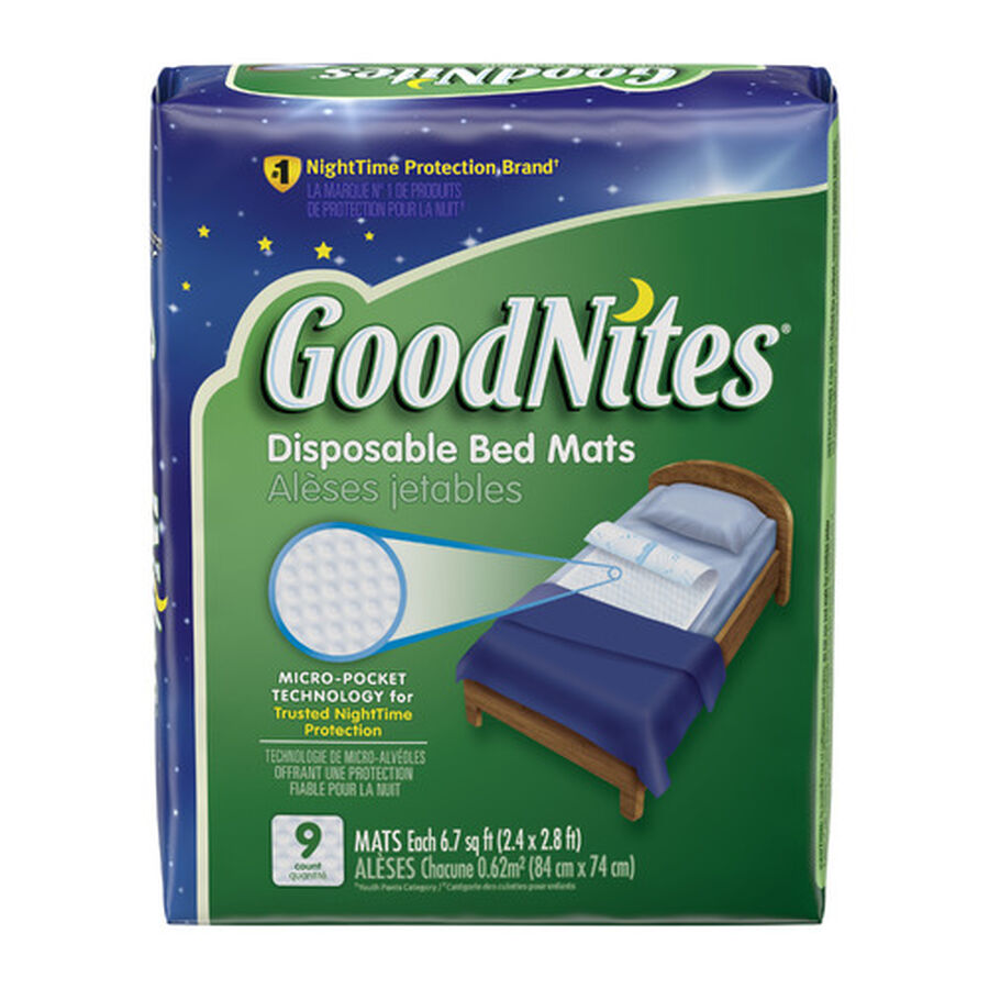 """GoodNites Disposable Bed Pads for Nighttime Bedwetting, Non-Slip Waterproof Mattress Pad, 30"""" x 36"""", 9 Count, , large image number 0"""