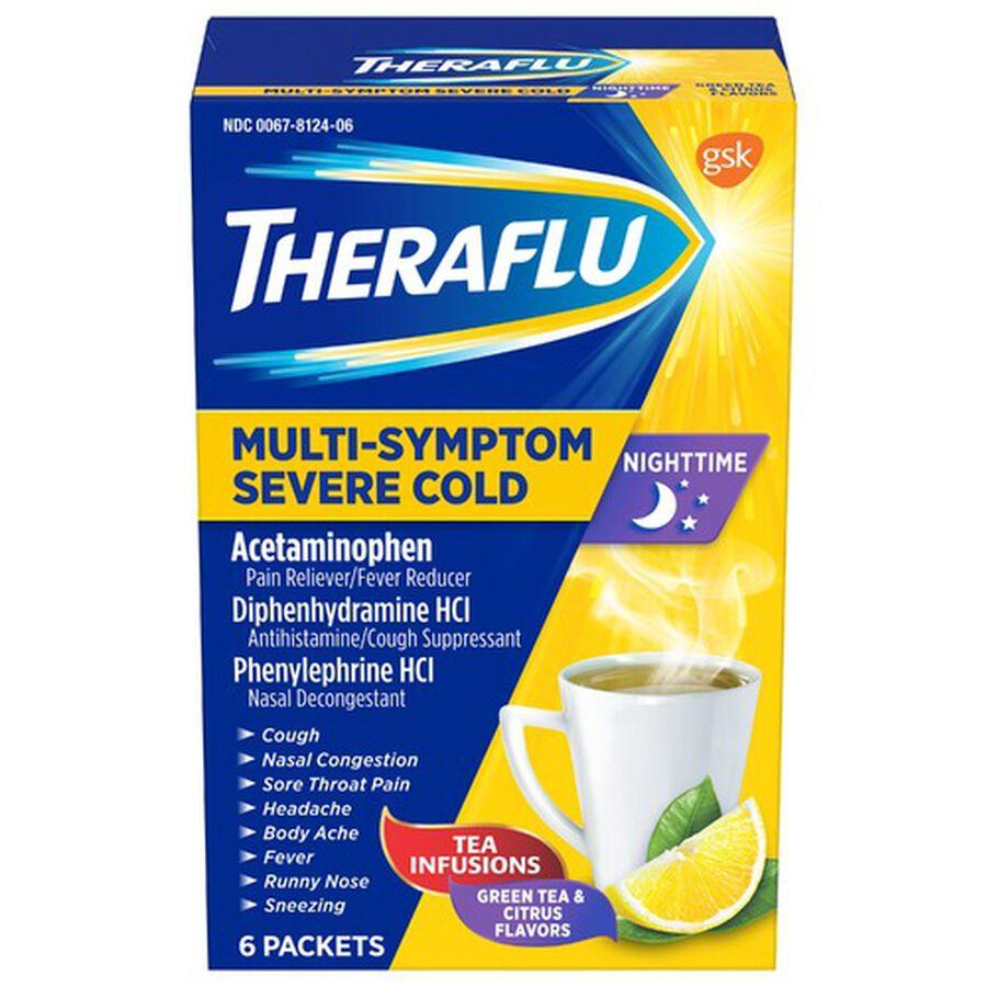 Theraflu Nighttime Multi-Symptom Severe Cold Hot Liquid Powder, Green Tea and Citrus Flavors, 6 ct, , large image number 0