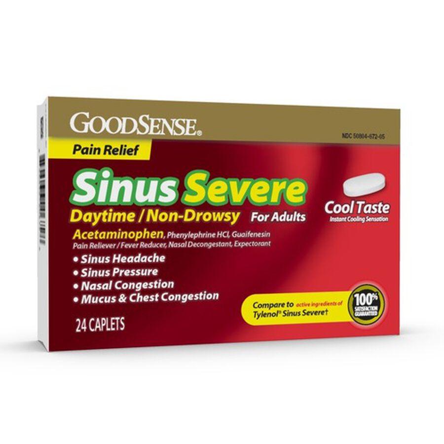GoodSense® Sinus Congestion + Pain Severe Daytime Adult Caplet, 24 ct, , large image number 0
