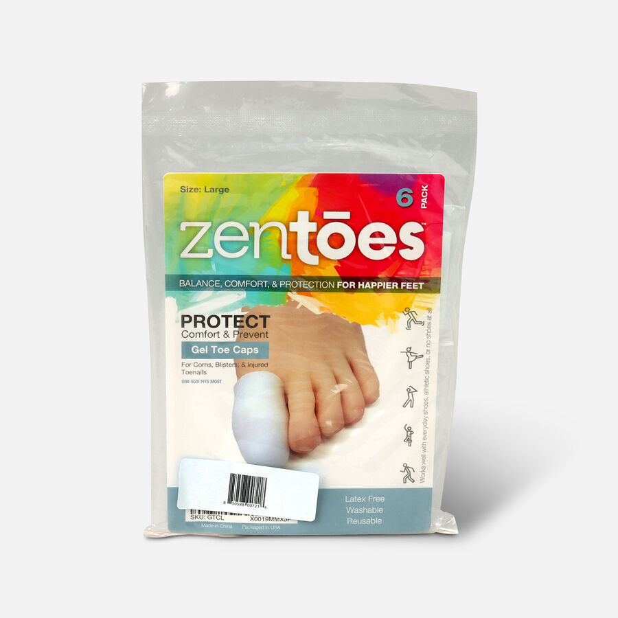 ZenToes Large Gel Toe Cap and Protector - 6 Pack, , large image number 2