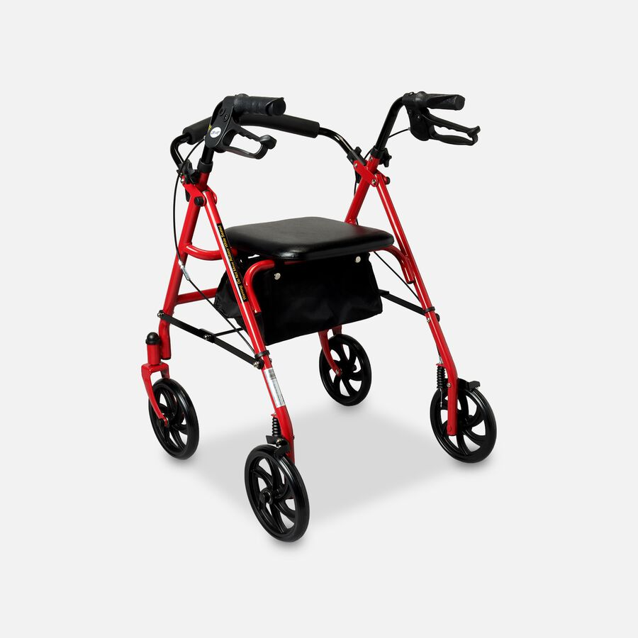 """Drive Aluminum Rollator with Fold Up and Removable Back Support, 7"""" Casters, Red, , large image number 1"""