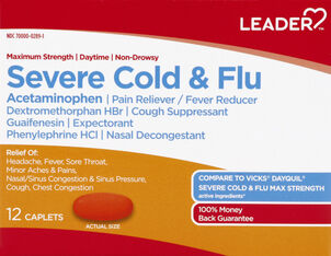 LEADER™ Cold & Flu Severe Daytime Maximum Strength Caplets 12 ct