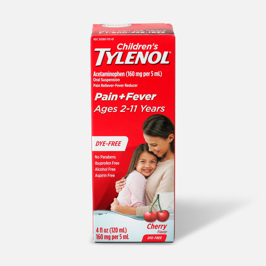 Tylenol Children's Pain and Fever Reliever, Cherry Flavor, 4 fl oz, , large image number 0