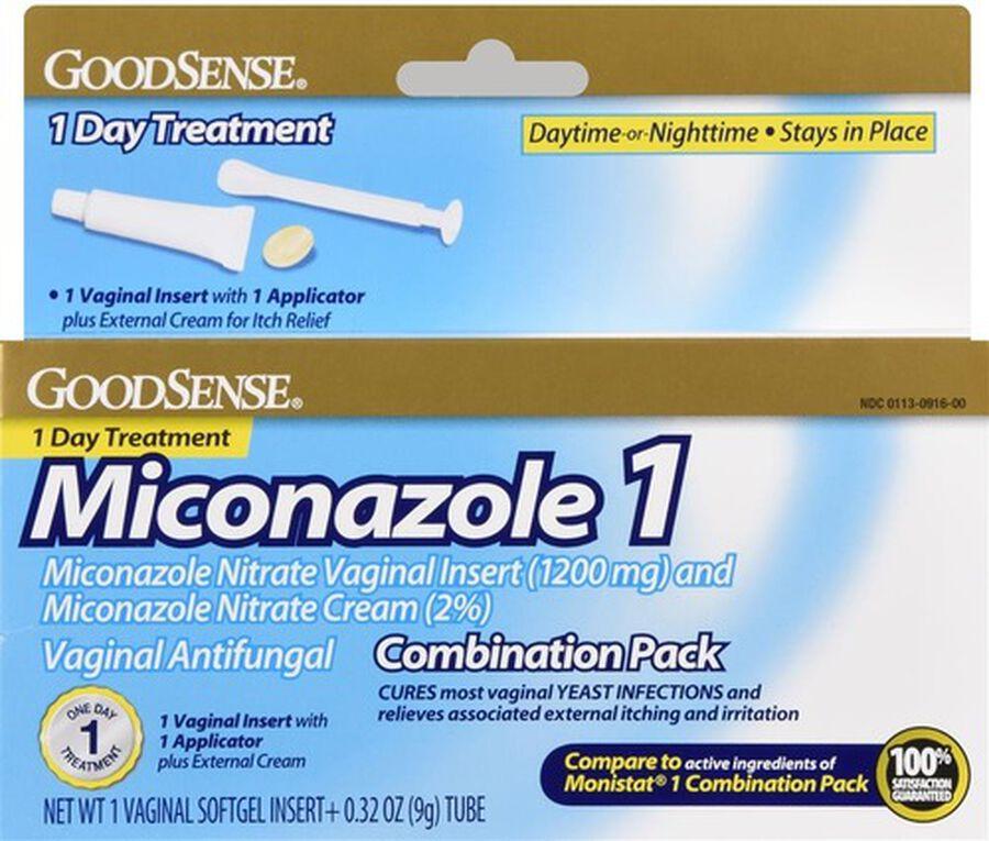 GoodSense® Miconazole 1 combo pack 1 Soft Gel Insert + 0.32 oz Tube, , large image number 0