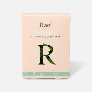 Rael Organic Cotton Reusable Pads - Overnight/Nude, 3ct