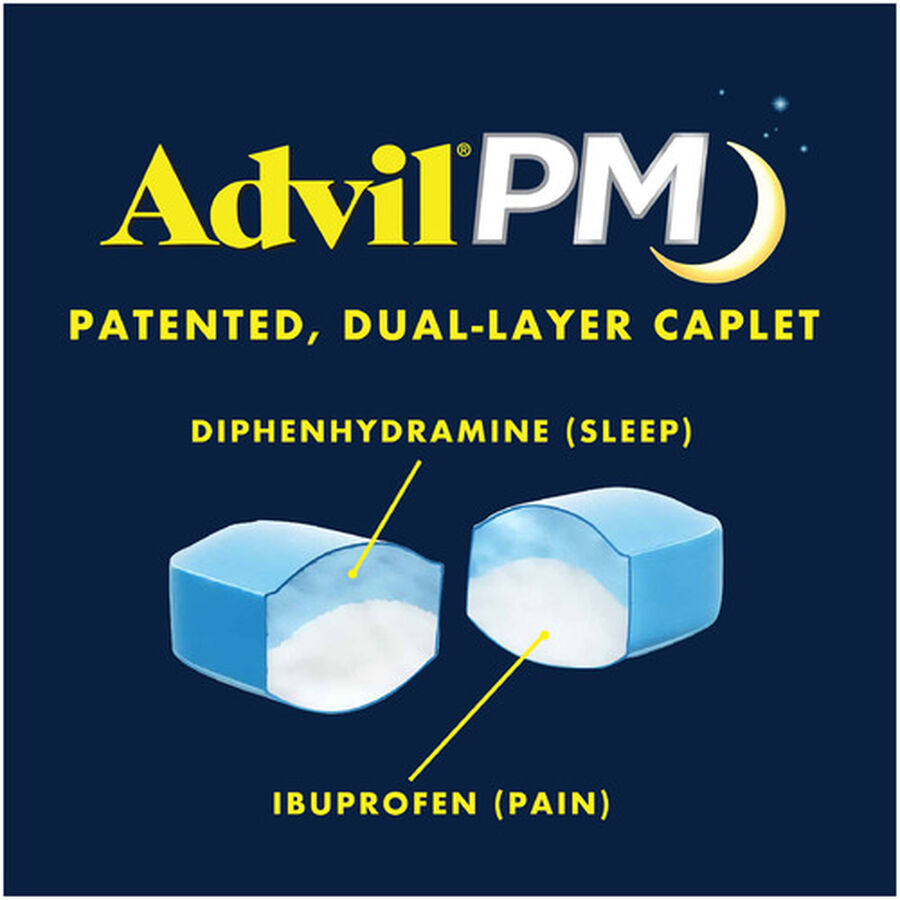 Advil Pain PM Reliever & Nighttime Sleep Aid Coated Caplets, 80 ct, , large image number 4
