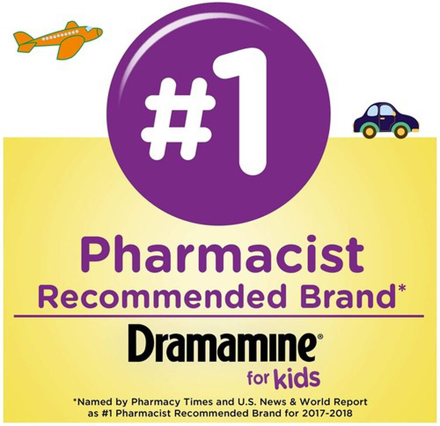 Dramamine Motion Sickness Relief for Kids, Grape Flavor, 8 ct, , large image number 3