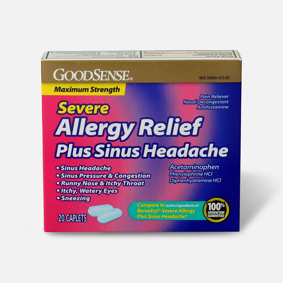 GoodSense® Severe Allergy Relief Plus Sinus Headache Caplets, 20ct, , large image number 0