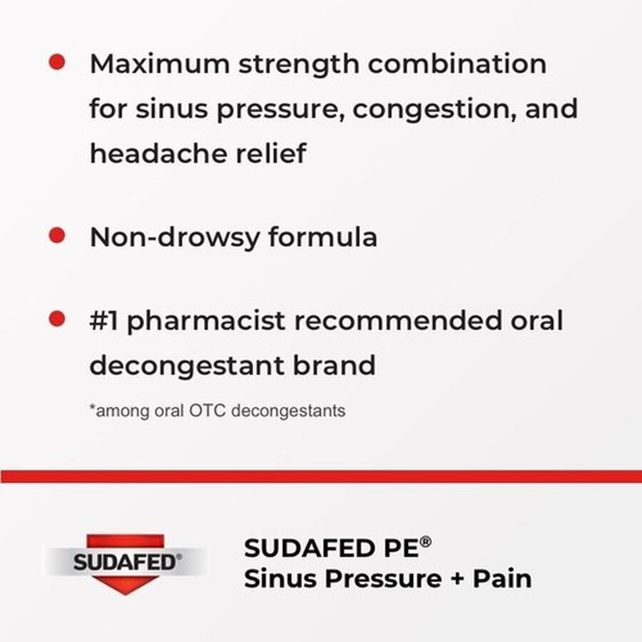 Sudafed PE Sinus Pressure + Pain Max Strength Non-Drowsy Caplets 24 ct, , large image number 2