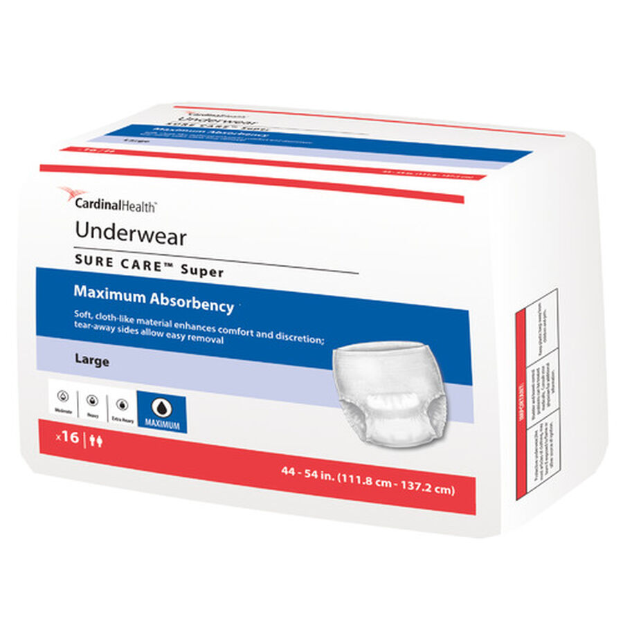 Cardinal Health SURE CARE™ Super Adult Protective Underwear with BreatheEasy™ Technology, Large, , large image number 0