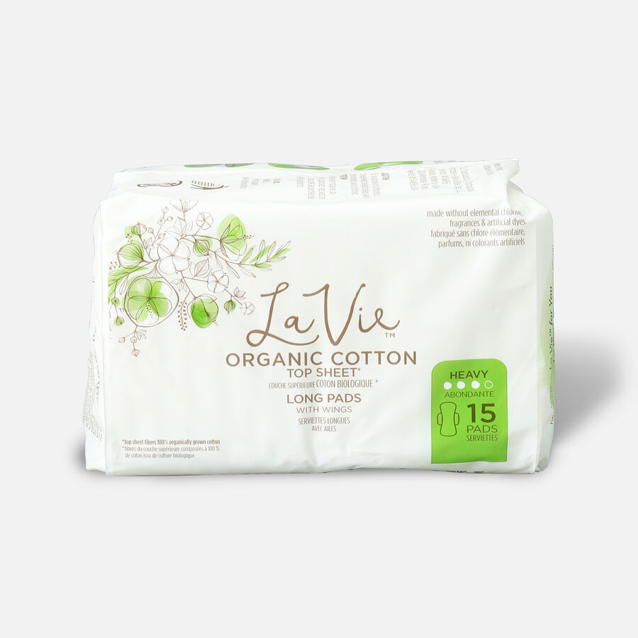La Vie Organic Cotton Top Sheet Pads with Wings, Heavy Absorbency, Long, 15ct, , large image number 0