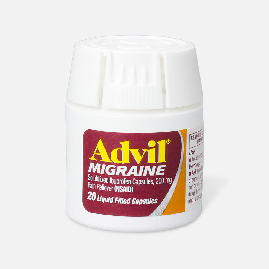 Advil Migraine Pain Reliever and Fever Reducer Liquid Filled Capsules, 200mg, 20 ct, , large image number 0