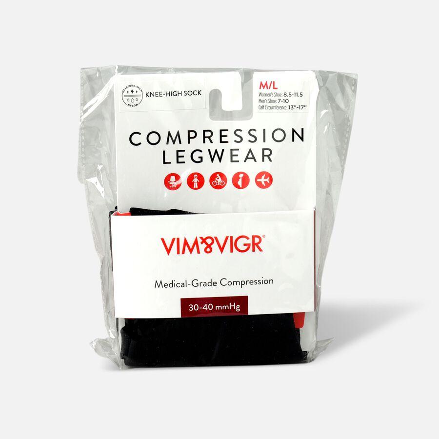 VIM & VIGR Moisture-Wick Nylon Compression Socks, Solid Black, Wide Calf, 30-40 mmHg, , large image number 3