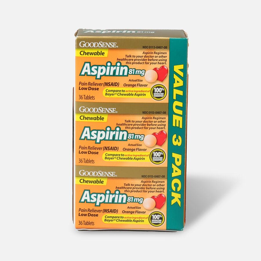 GoodSense® Aspirin 81 mg Low Dose Chewable Tablets, 3/36 ct, , large image number 0