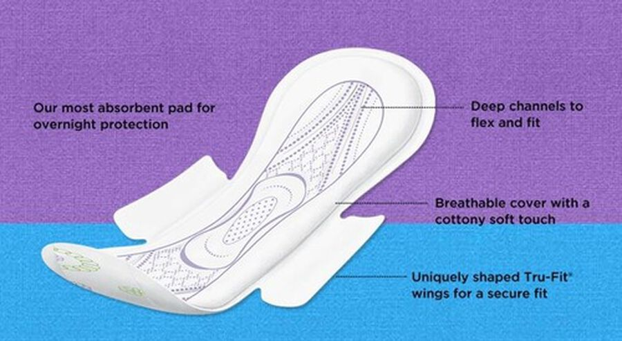 U by Kotex Security Maxi Pad with Wings, Overnight, Unscented, 14 Count, , large image number 2