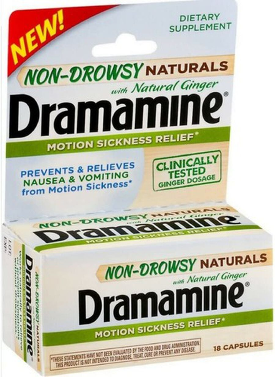 Dramamine Motion Sickness Relief Non-Drowsy Naturals Capsules, Natural Ginger, 18 ct, , large image number 0