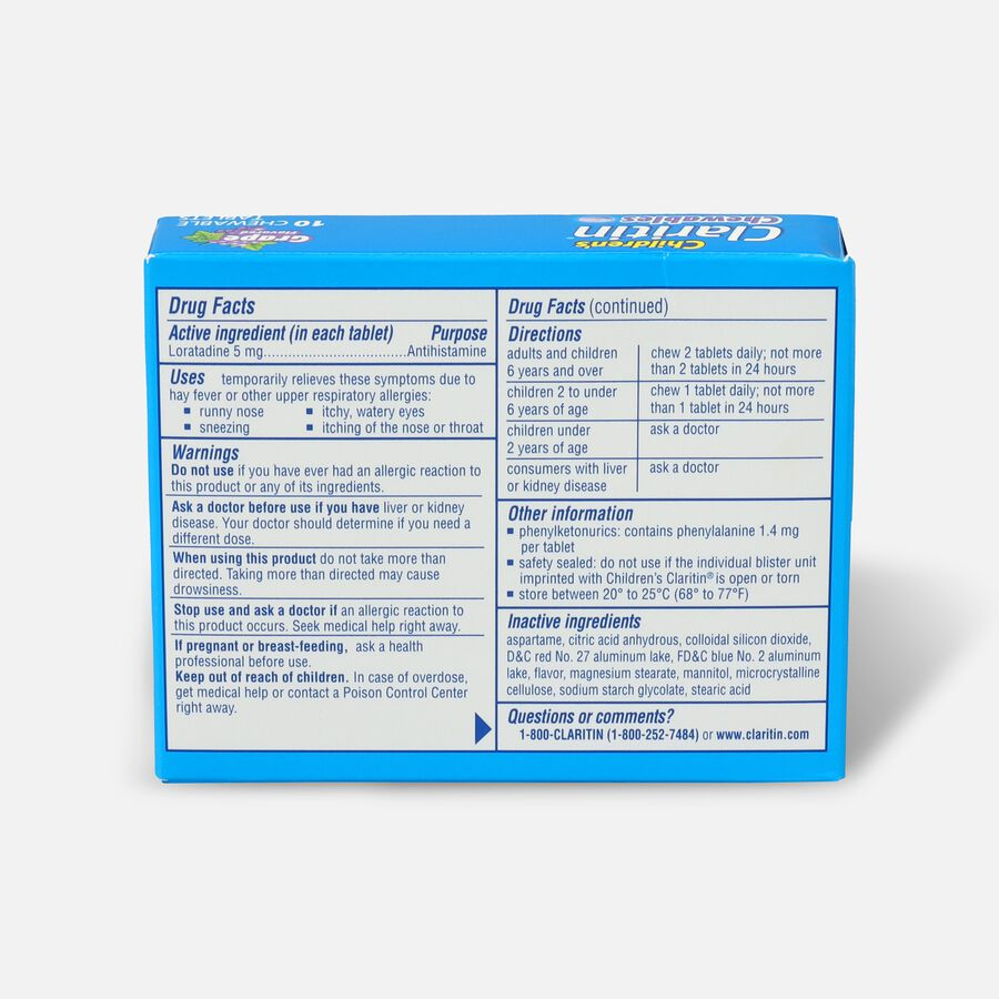 Claritin Children's Allergy Chewables, Grape Flavor, 10 Count, , large image number 1