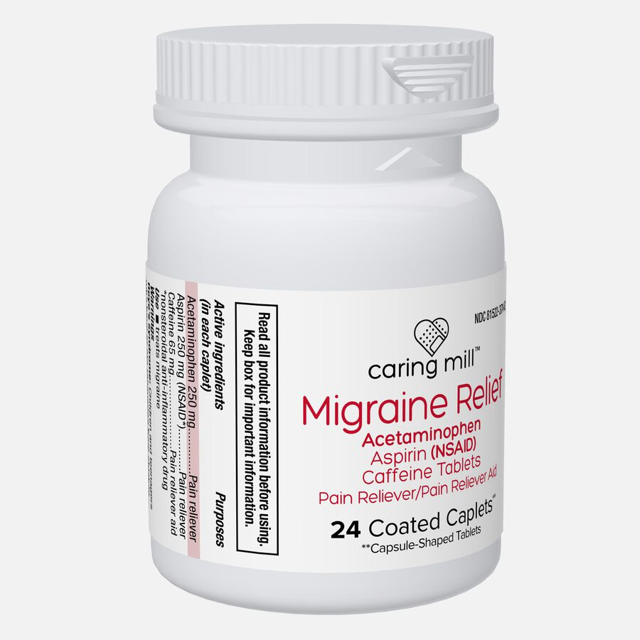 Caring Mill™ Migraine Relief Acetaminophen/Aspirin (NSAID) Caffeine Tablets, 24 Coated Caplets, , large image number 4