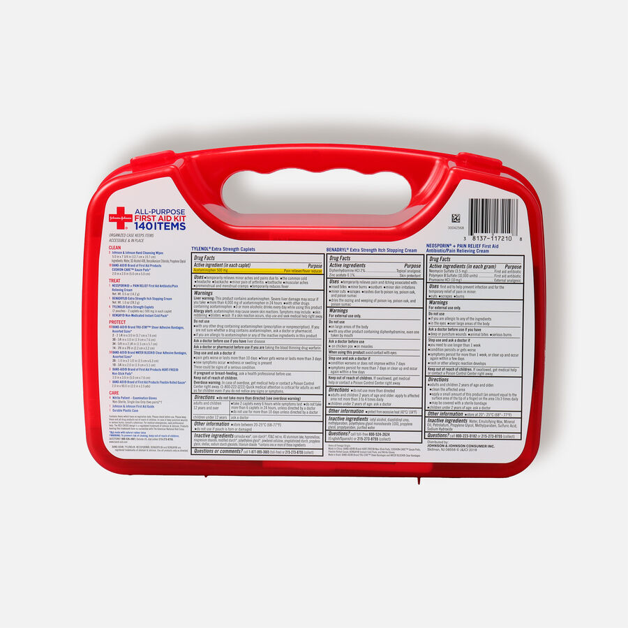 Johnson & Johnson Red Cross® All Purpose First Aid Kit, 140 Items, , large image number 1