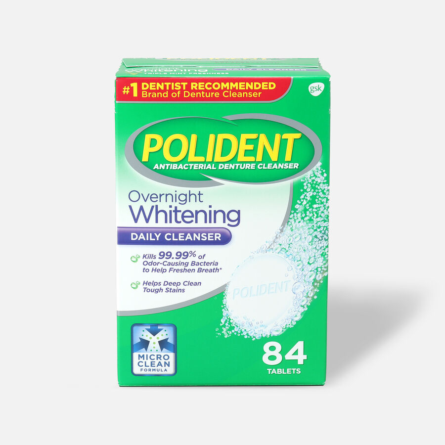 Polident Overnight Whitening Antibacterial Denture Cleanser Tablets, , large image number 0