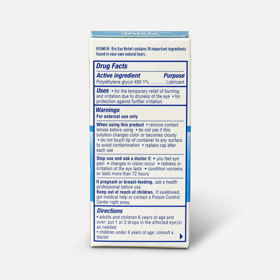 Visine Dry Eye Relief Lubricating Eye Drops for Dry Eyes, 0.5 fl. oz, , large image number 1