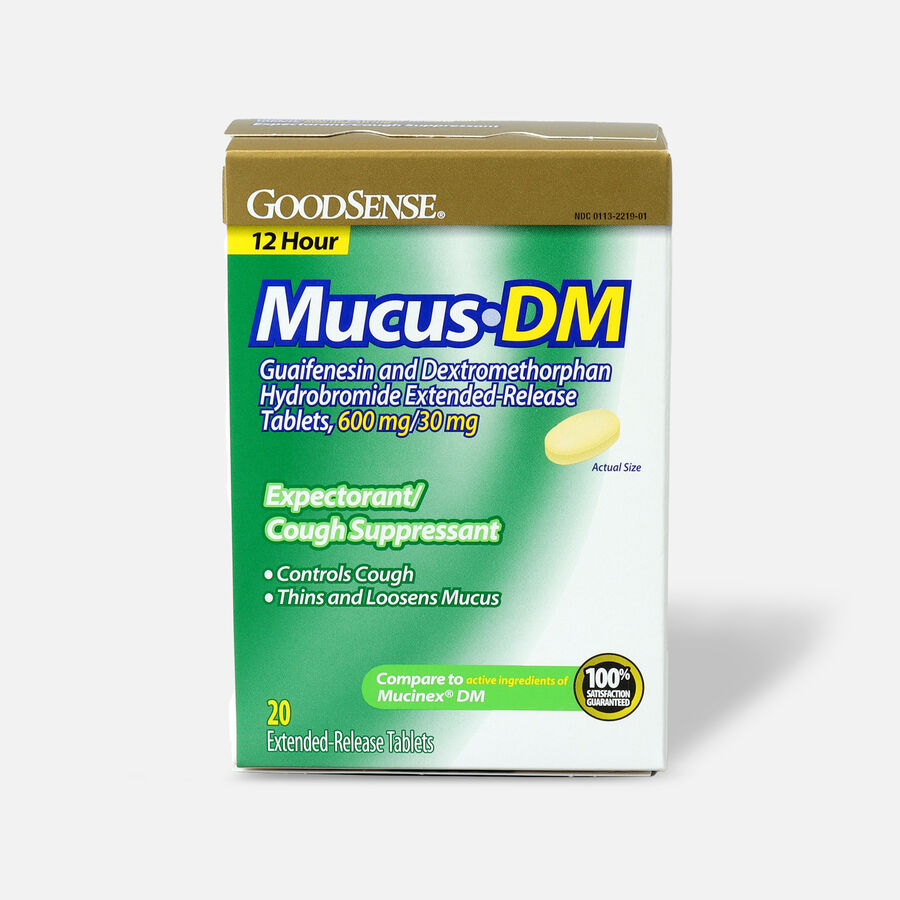 GoodSense® Mucus DM, Extended-Release Tablets, 600 mg/30 mg, 20 ct, , large image number 0