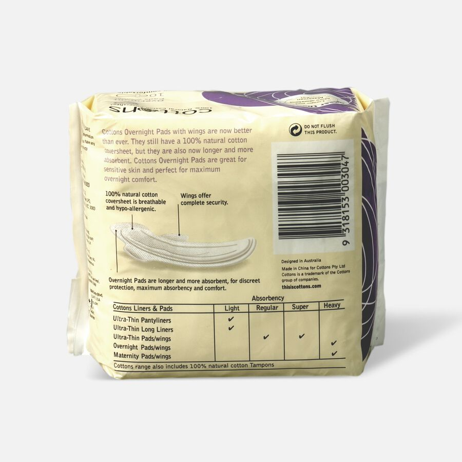Cottons Ultra-Thin Pads with Wings, Overnight, 10ct, , large image number 1