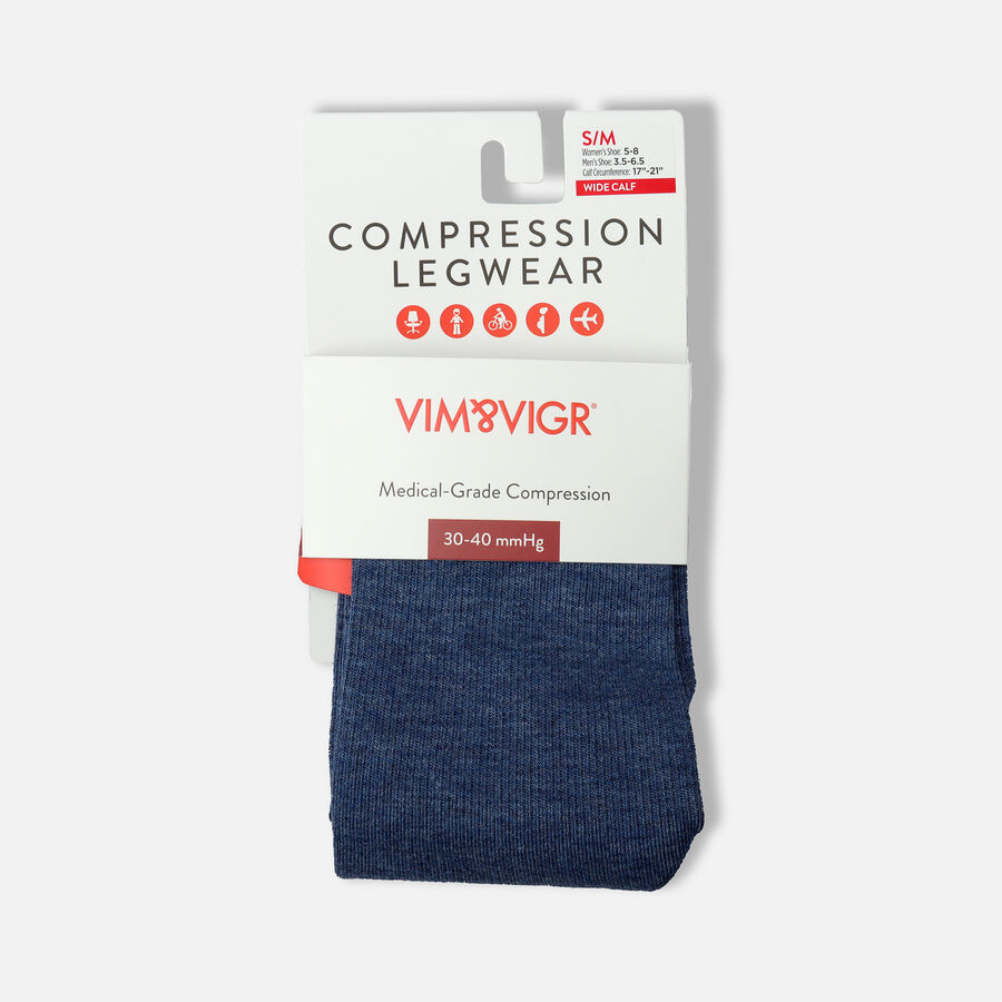 VIM & VIGR Cotton Socks, Heathered Collection Navy, 30-40 mmHg, , large image number 15