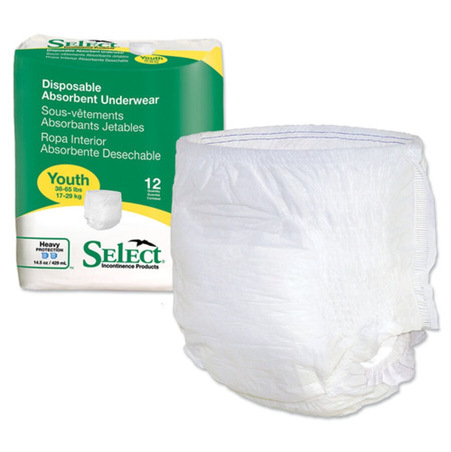 Select Disposable Absorbent Youth Underwear, 38-65 lbs, 12 ea, , large image number 3