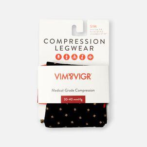 VIM & VIGR Cotton Socks, Petite Dot Black and Tan, 30-40 mmHg