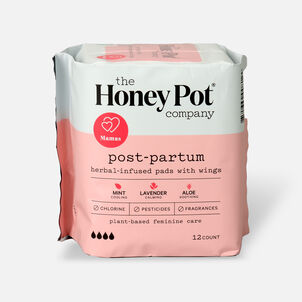 The Honey Pot Postpartum Herbal Pads with Wings, 12ct