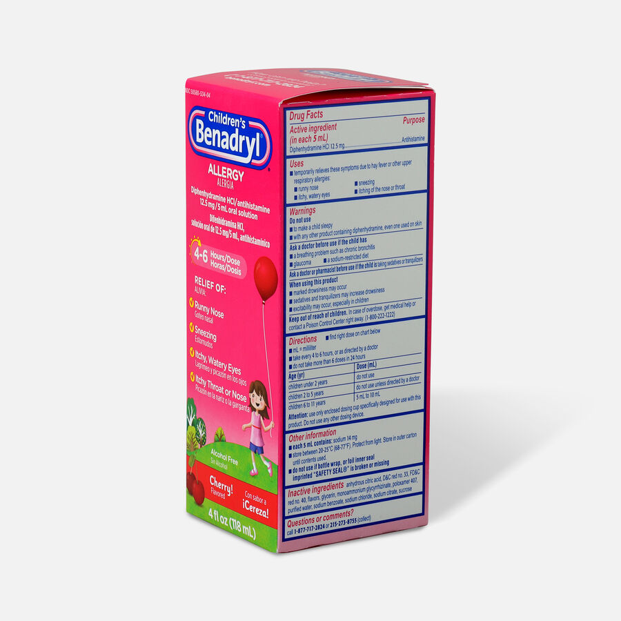 Children's Benadryl Cherry flavored Allergy 4 fl oz, , large image number 3