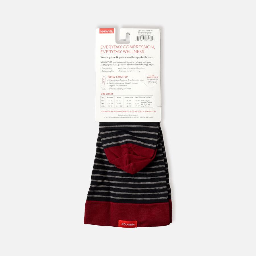 VIM & VIGR Nylon Socks, Little Stripe Black & Gray, 30-40 mmHg, , large image number 5