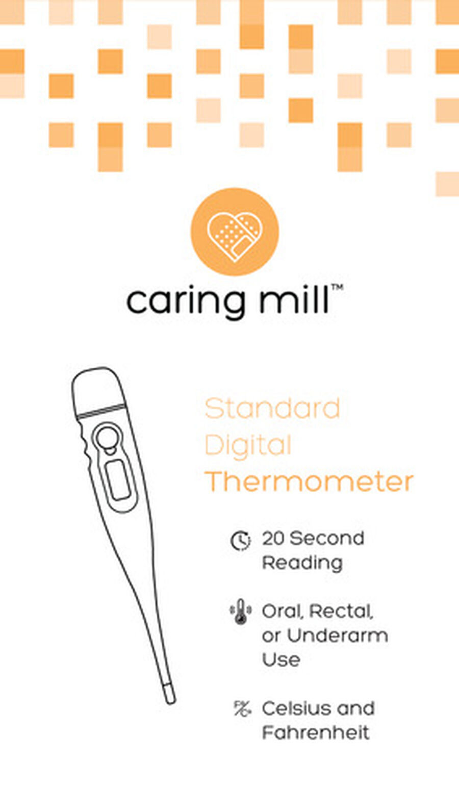 Caring Mill® Digital Thermometer with case, , large image number 1