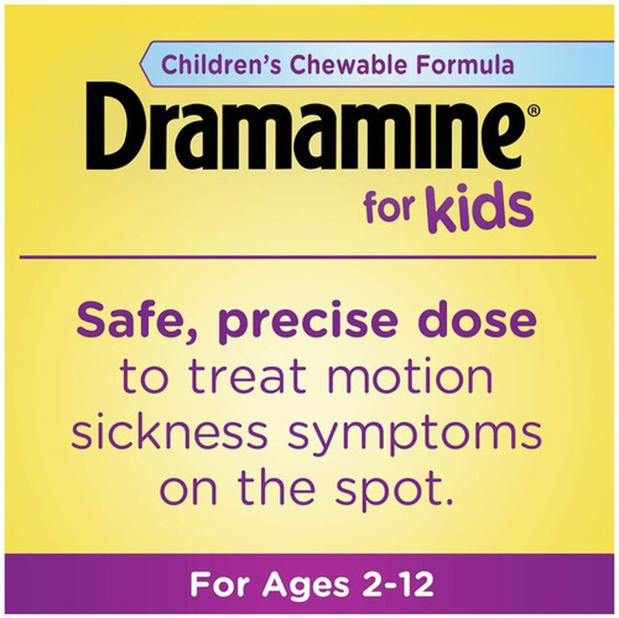 Dramamine Motion Sickness Relief for Kids, Grape Flavor, 8 ct, , large image number 2