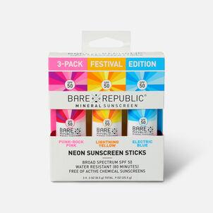 Bare Republic Mineral SPF 50 Neon Sunscreen Stick, 3-Pack