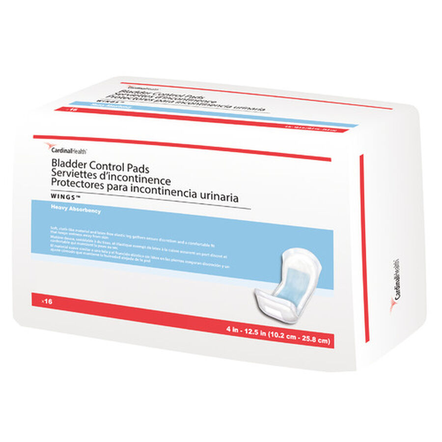"""WINGS™ Bladder Control Pads 4"""" x 12-1/2"""" (10.2 cm x 25.8 cm), Heavy Absorbency- 16 pack, , large image number 0"""