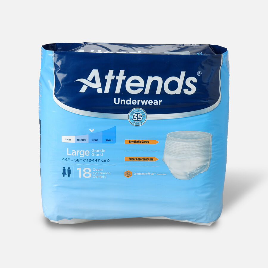 """Attends Adult Extra Absorbency Protective Underwear Large 44"""" - 58"""" (Pack of 18), , large image number 0"""