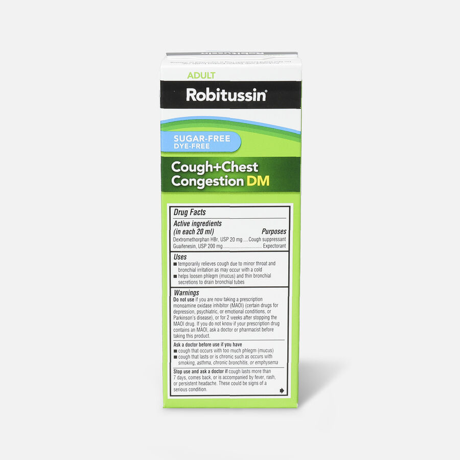 Robitussin Cough & Chest Congestion Relief DM, Sugar-Free, Dye-Free, Adult, 4 oz, , large image number 2