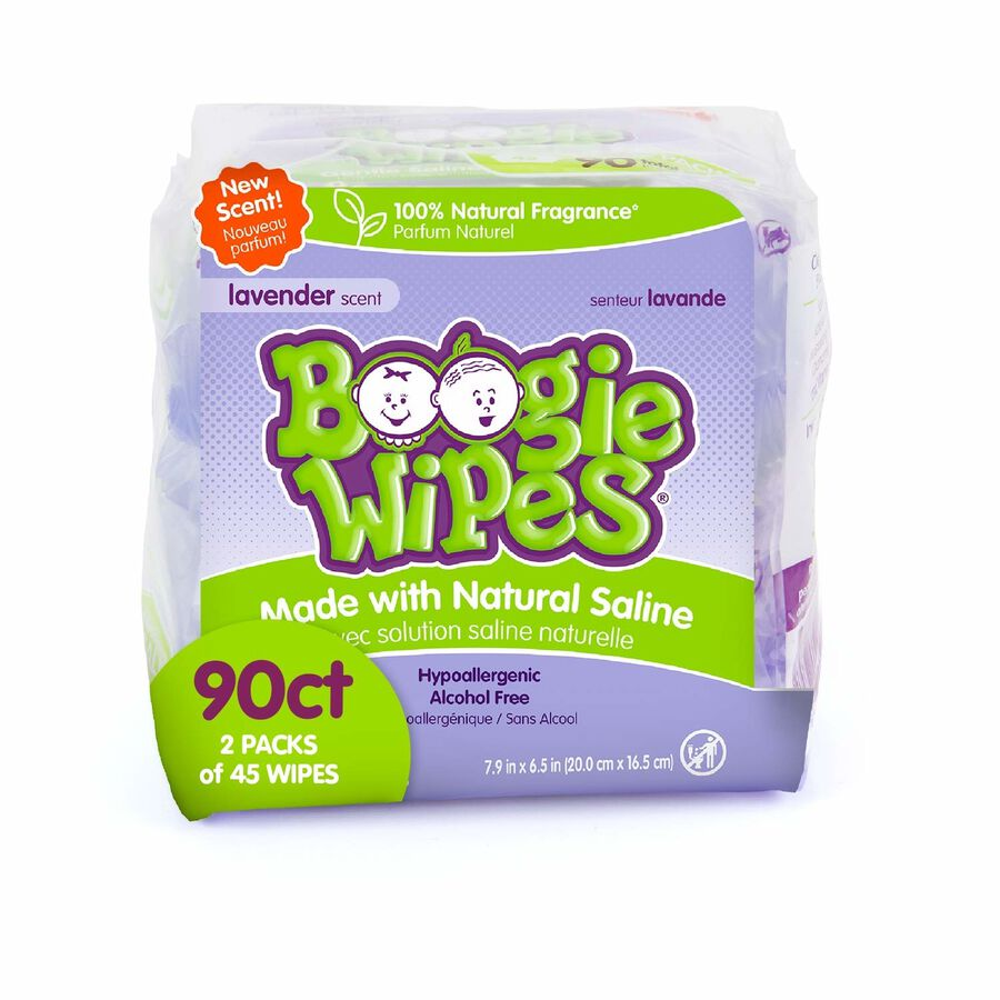 Boogie Wipes Lavender, Dual Pack, 2/45 ct, , large image number 1