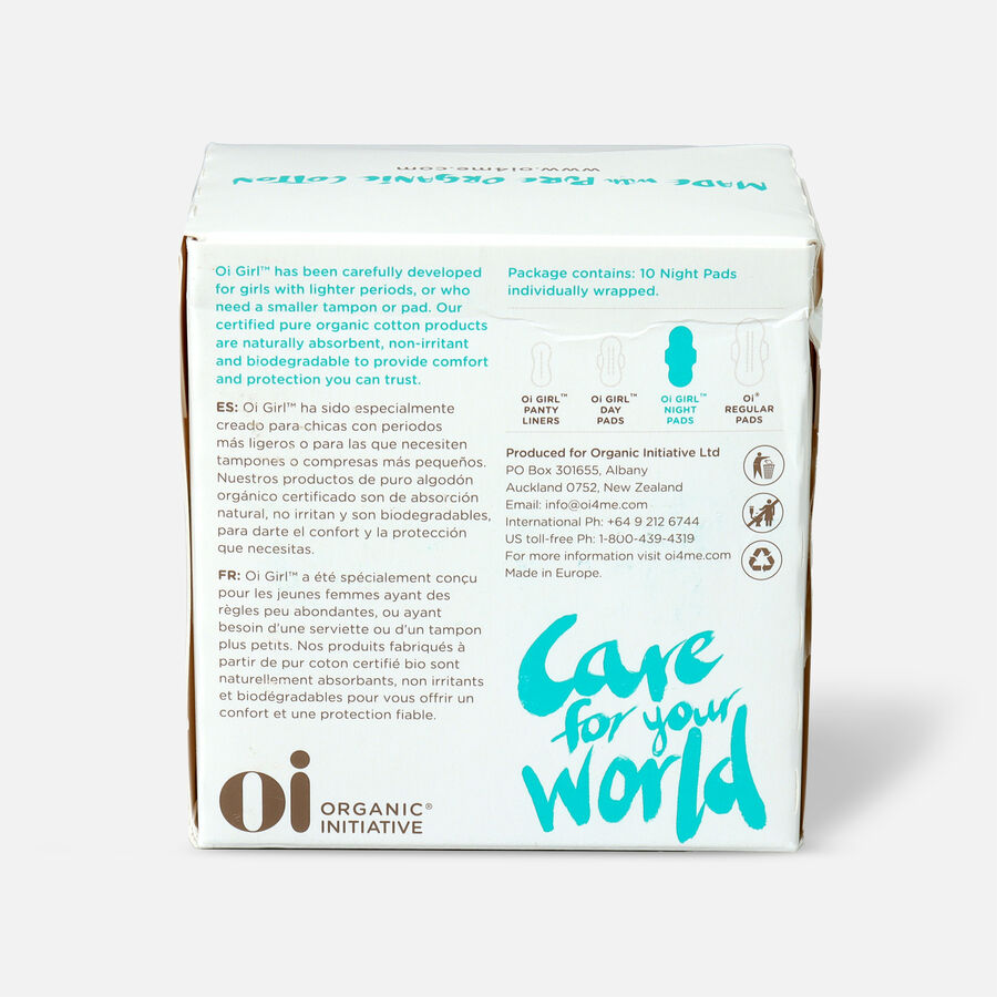 Oi Girl Organic Cotton Ultra Thin Pads with Wings, Night, 10ct, , large image number 1