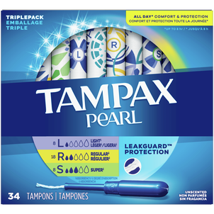 Tampax Pearl Tampons Trio Pack with BPA-Free Plastic Applicator and LeakGuard Braid, Unscented, 34 Count
