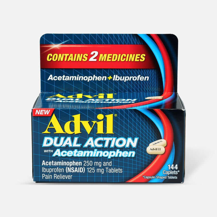 Advil Dual Action Coated Tablets, Acetaminophen + Ibuprofen, 144 ct, , large image number 0