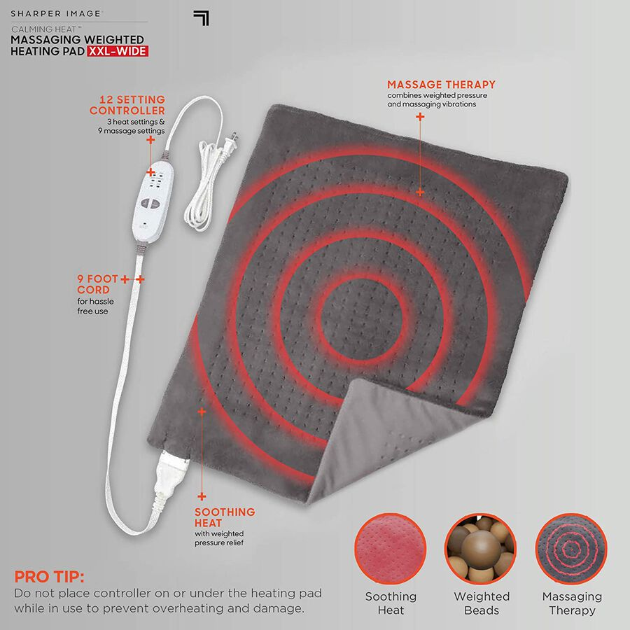 Sharper Image® Calming Heat XXL-Wide Massaging Weighted Heating Pad, 12 Setting, 5lbs, , large image number 5