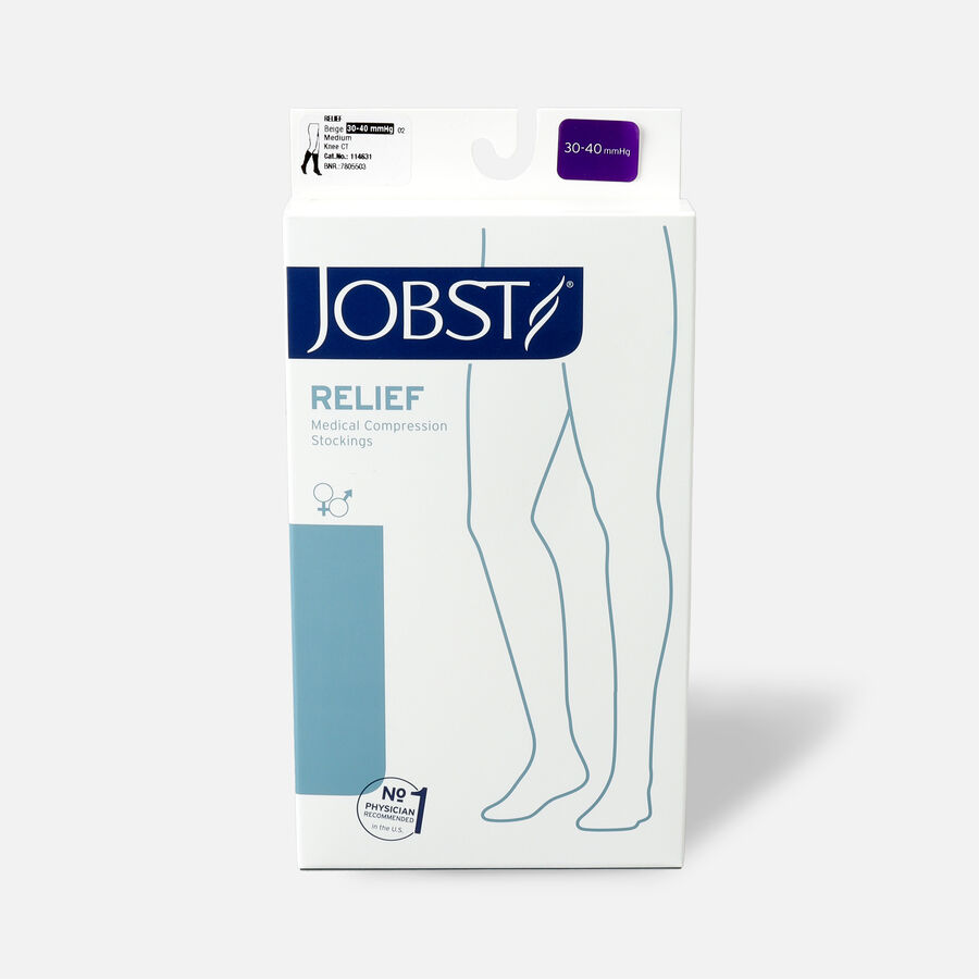 BSN Jobst Unisex Relief Knee-High Extra Firm Compression Stockings, Closed Toe, Beige, , large image number 1
