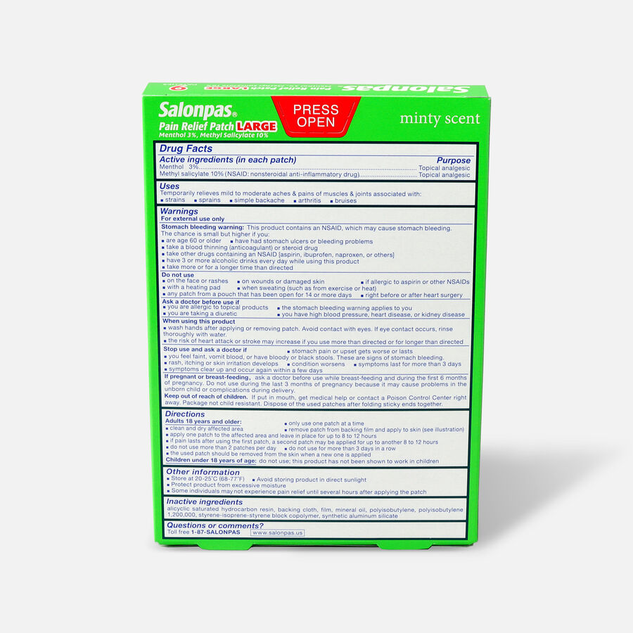 Salonpas Pain Relieving Patch, Large, 9 ct., , large image number 1