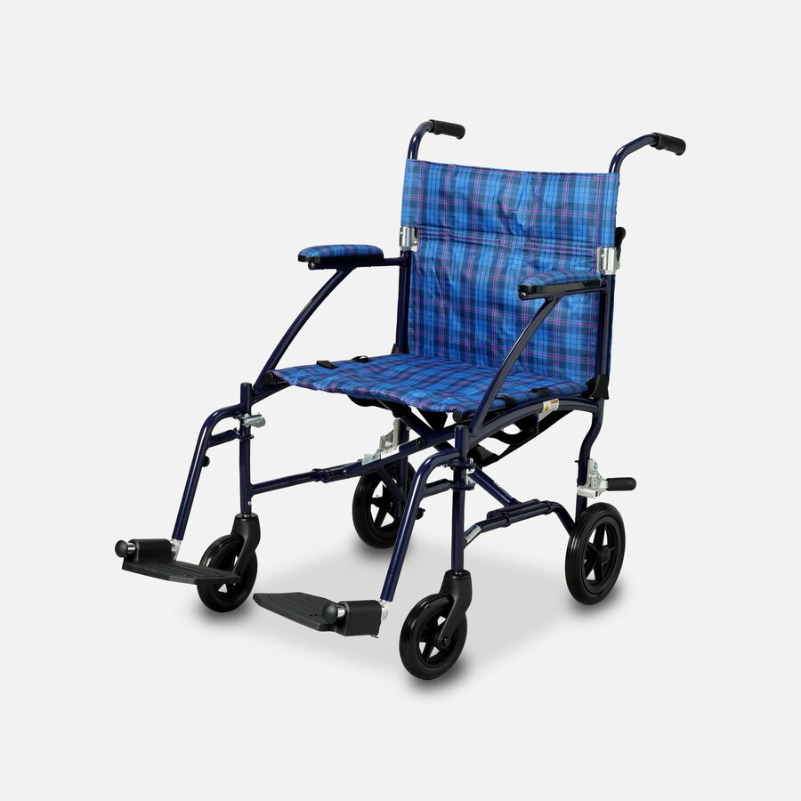 """Drive Fly-Lite Ultra Lightweight Aluminum Transport Chair, 19"""", Blue, , large image number 0"""