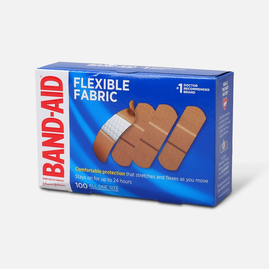Band-Aid Flexible Fabric Adhesive Bandages, One Size, 100 ct, , large image number 1